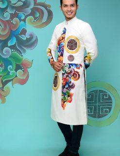 áo dài nam cách tân chú rể vẽ họa tiết nhiều màu
