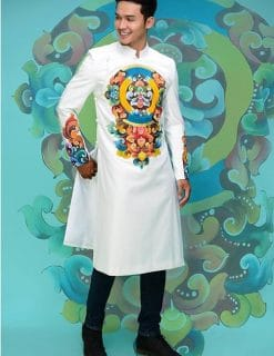 áo dài nam cách tân chú rể vẽ họa tiết sang trọng
