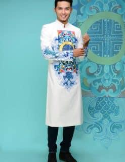Áo dài nam cách tân chú rể vẽ họa tiết xanh