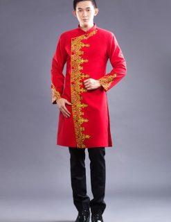 Áo dài nam cách tân đỏ vẽ họa tiết vàng lịch lãm
