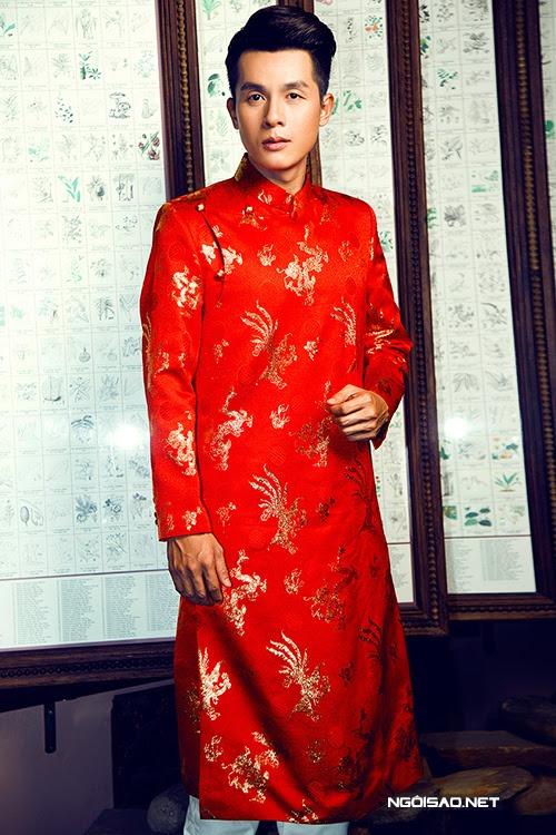 Áo dài nam cách tân gấm đỏ họa tiết sang trọng