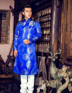 Áo dài nam cách tân gấm xanh đồng tiền