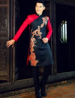Áo dài nam cách tân hiện đại với màu đen phối đỏ