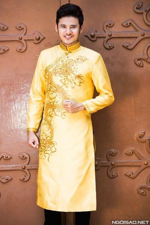 áo dài nam cách tân hoàng gia vẽ rồng vàng