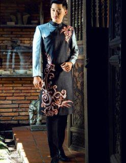 áo dài nam cách tân phối màu xanh ghi ấn tượng