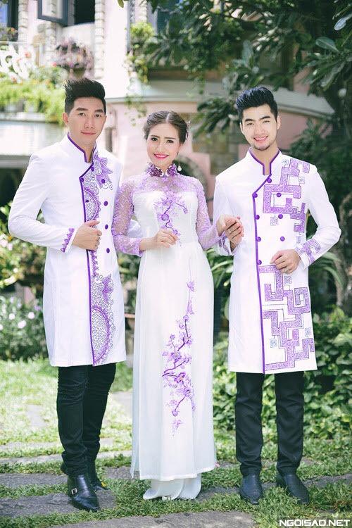 áo dài nam cách tân trắng phối tím độc đáo