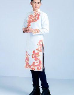 áo dài nam cách tân trắng vẽ họa tiết đỏ