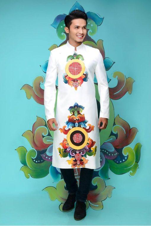 áo dài nam cách tân vẽ họa tiết sang trọng