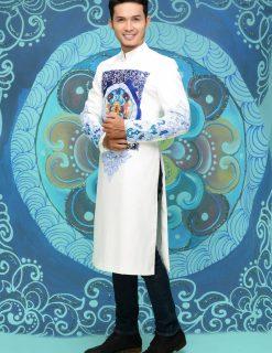 Áo dài nam cách tân vẽ họa tiết xanh sang trọng