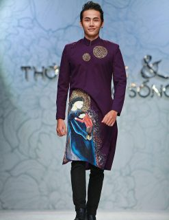 áo dài nam cách tân vu lan màu tím