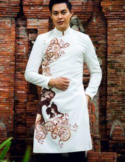 áo dài nam cách tân vu lan màu trắng