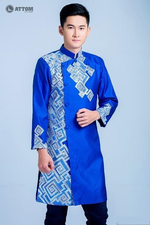 áo dài nam cách tân xanh vẽ họa tiết hiện đại