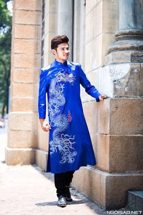 áo dài nam cách tân xanh vẽ rồng truyền thống