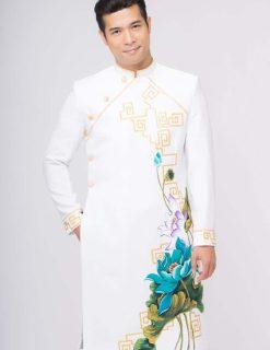 Áo dài nam trắng vẽ hoa sen