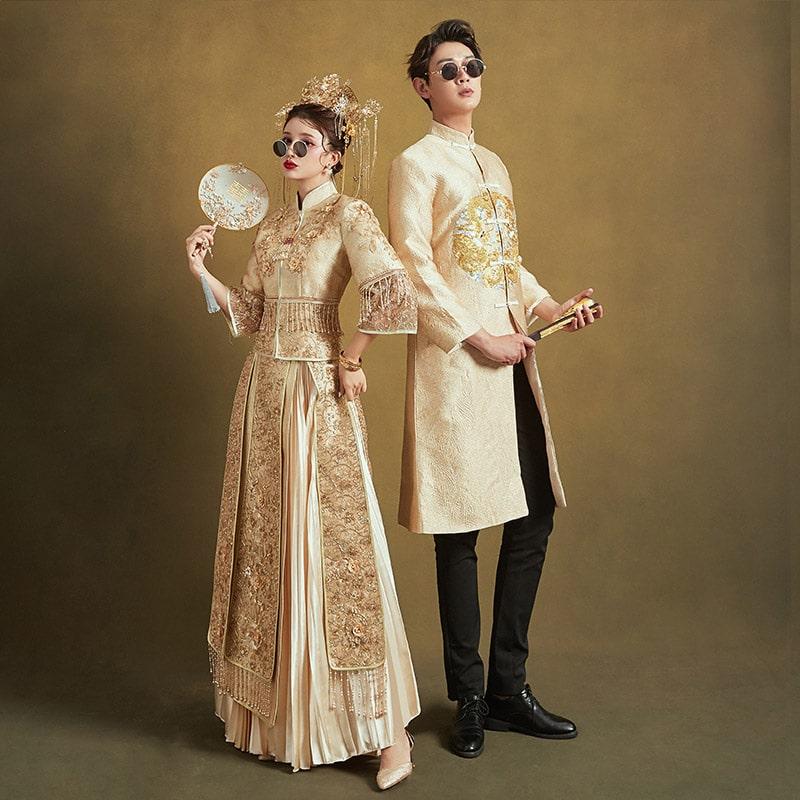 cho thuê áo khỏa cưới màu vàng