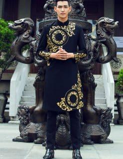 Áo dài nam đen họa tiết vàng sang trọng