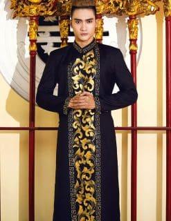Áo dài nam cách tân đen vẽ họa tiết vàng sang trọng