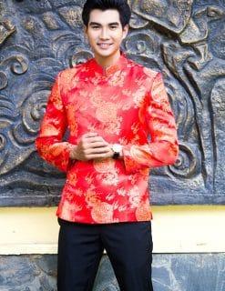 Áo dài nam đỏ form ngắn họa tiết truyền thống