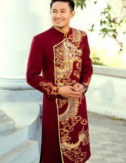 Áo dài nam cách tân đỏ họa tiết rồng mạnh mẽ