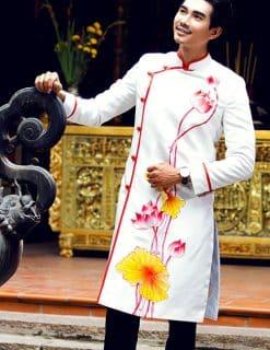 Áo dài nam cách tân hoa sen đi lễ chùa