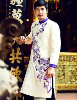 Áo dài nam trắng họa tiết tím hiện đại