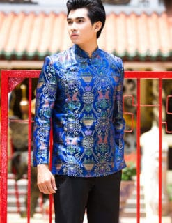 Áo dài nam xanh form ngắn họa tiết bắt mắt