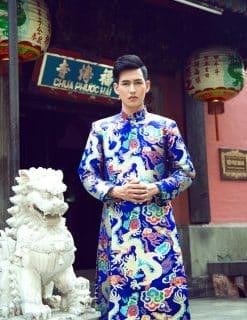 Áo dài nam xanh họa tiết rồng ánh kim