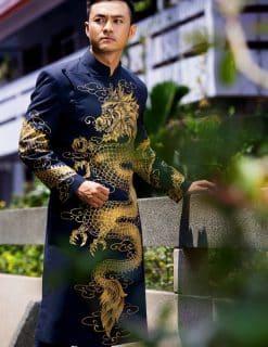Áo dài nam cách tân đen rồng vàng mạnh mẽ