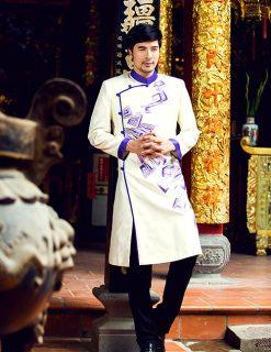 Áo dài nam cách tân trắng họa tiết tím hiện đại