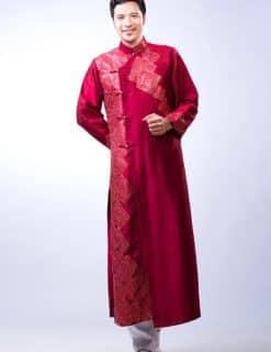 Áo dài nam đỏ trầm vẽ họa tiết sang trọng
