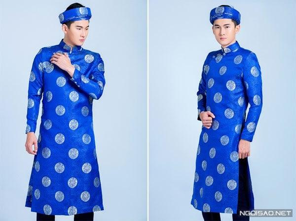 Áo dài nam truyền thống gấm xanh đồng tiền