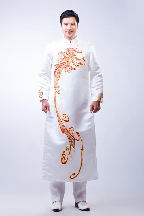 Áo dài nam trắng vẽ họa tiết đỏ phá cách
