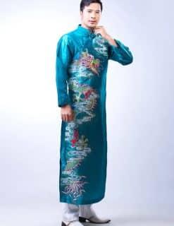Áo dài nam xanh ngọc vẽ rồng mạnh mẽ