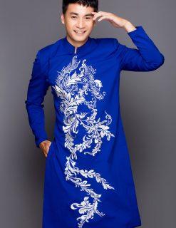 Áo dài nam cách tân xanh đậm họa tiết trắng biến thể