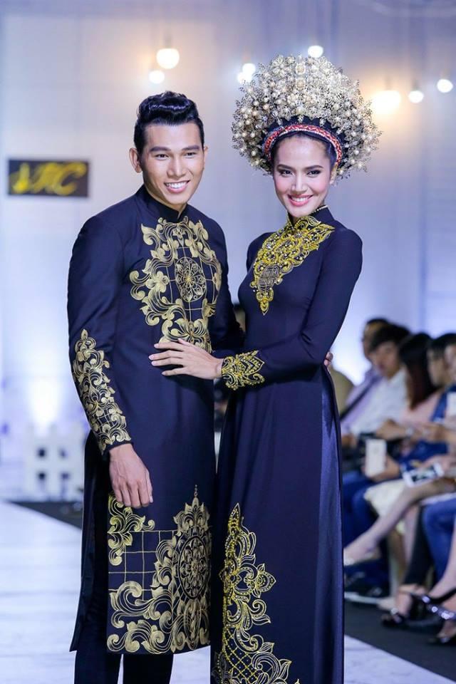 Áo dài cưới họa tiết vàng đồng sang trọng