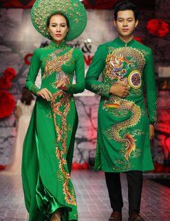 áo dài cưới màu xanh lá vẽ rồng phượng tinh xảo