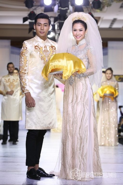 Áo dài cưới họa tiết cầu kỳ cao cấp