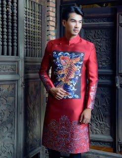 Áo dài nam đỏ vẽ họa tiết cao cấp sang trọng