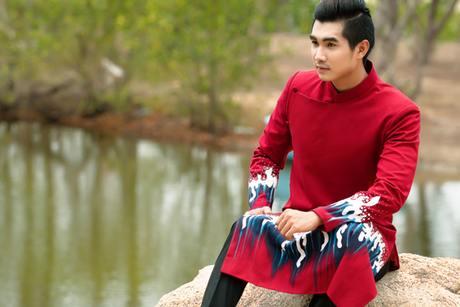 Áo dài nam cách tân đỏ vẽ họa tiết sóng biển