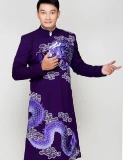 Áo dài nam tím vẽ họa tiết rồng tinh xảo