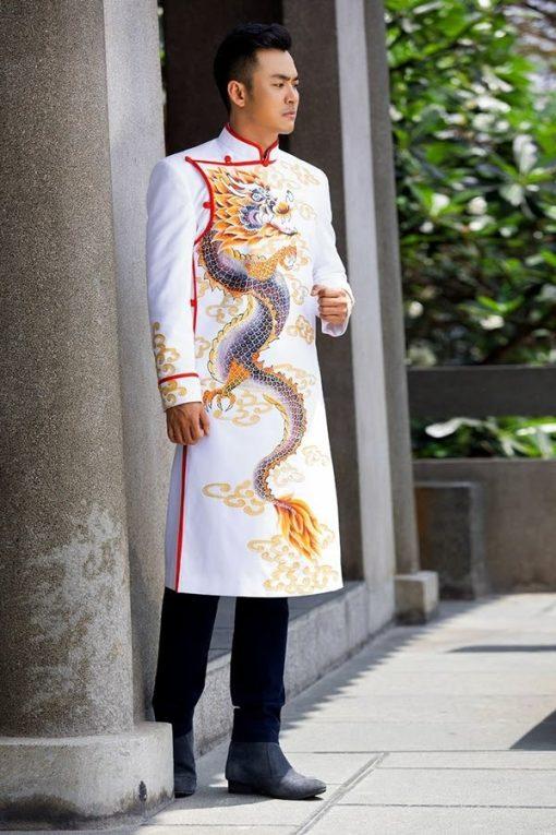 Áo dài nam trắng vẽ rồng cưỡi mây