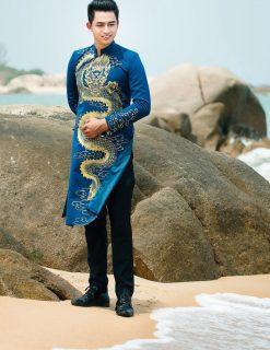 Áo dài nam cách tân xanh vẽ rồng mạnh mẽ