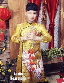 Áo dài nam gấm vàng họa tiết chim hạc cao cấp