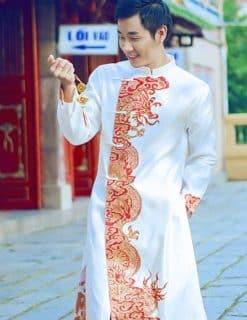 Áo dài nam cách tân trắng viền vẽ rồng cưỡi mây