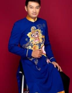 Áo dài nam cách tân xanh coban họa tiết lân vàng nổi bật