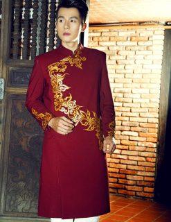 Áo dài nam cách tân đỏ đậm hoa văn hiện đại