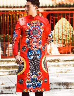 Áo dài nam cách tân đỏ phong cách hoàng gia