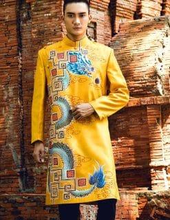 Áo dài nam cách tân vàng họa tiết rồng phun châu