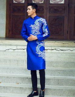 Áo dài nam cách tân xanh họa tiết rồng nam tính