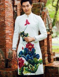 Áo dài nam cách tân trắng hoa tiết hoa sen sặc sỡ